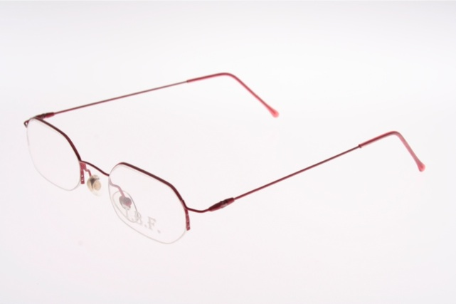Rimless Octagon Eyeglass Frames : Flat light half rimless octagonal red Stainless steel ...