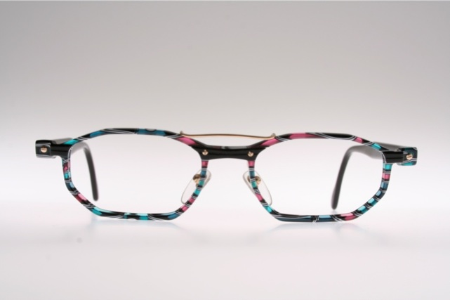 Zeiss Optical Glasses : Green black blue rose striped eyeglasses by ZEISS/ Germany ...