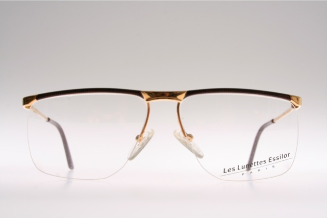 Rimless Glasses Nylon : Half rimless brown golden bar nylon eyeglasses by ESSILOR ...