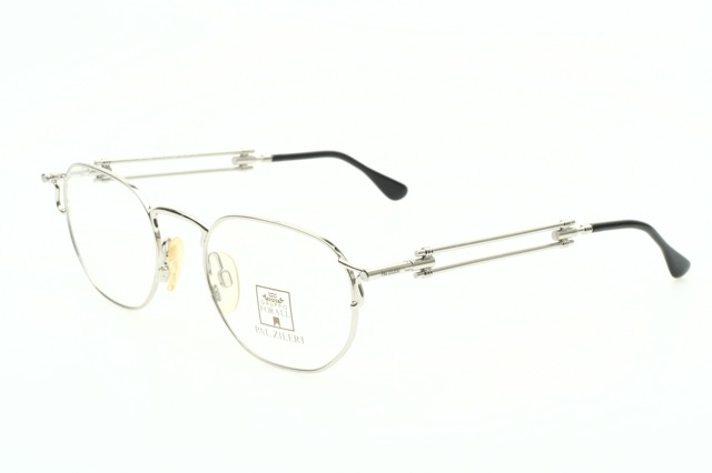 industrial designed metal eyeglasses in shiny silver by