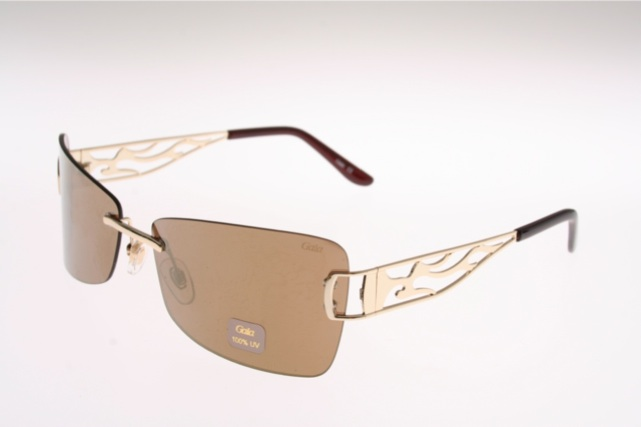 Rimless flash mirrored sunglasses with carved arms by GALA ...