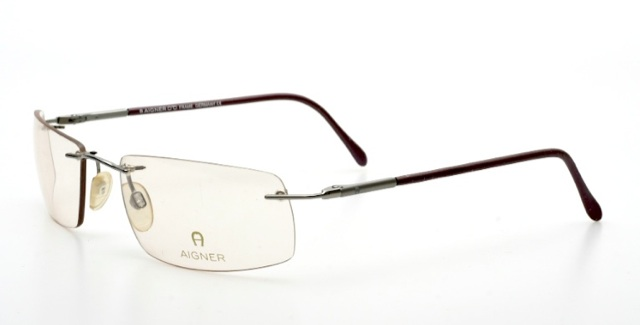 Rimless, squared eyeglasses, spring hinges by AIGNER, Mod ...