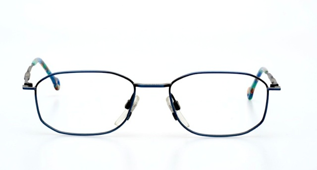 Very thin and light metallic blue squared glasses by FILA ...